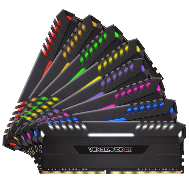 Модуль памяти Corsair Vengeance RGB DDR4 DIMM 2666MHz PC4-21300 CL16 - 64Gb KIT (8x8Gb) CMR64GX4M8A2666C16