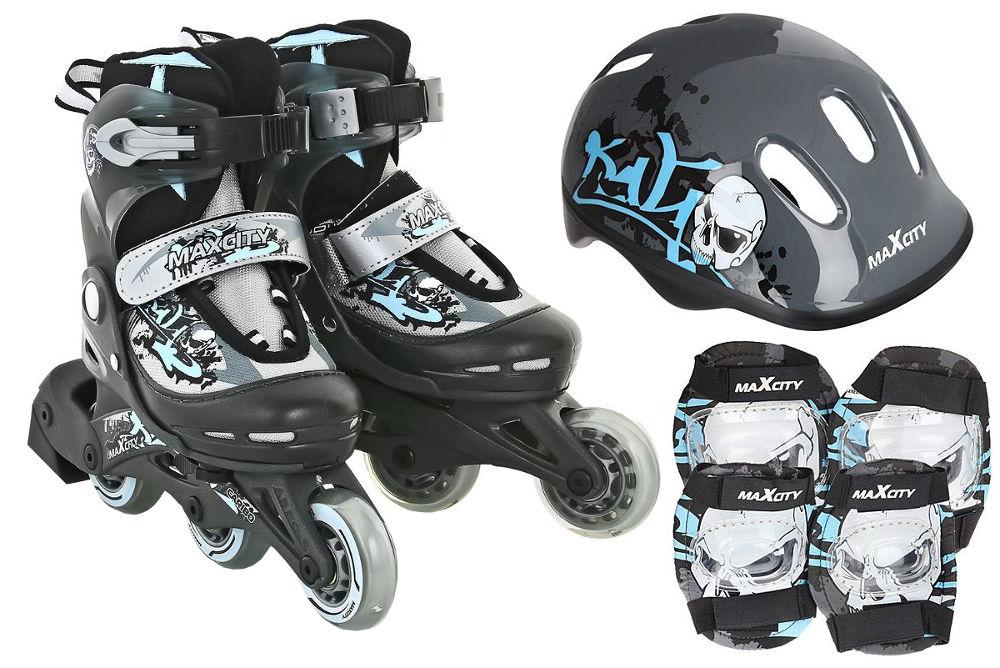 коньки ледовые для мальчика maxcity snipe boy раздвижные цвет черный серый красный размер 29 32 Коньки Maxcity Caribo Combo Boy р.26-29 Grey