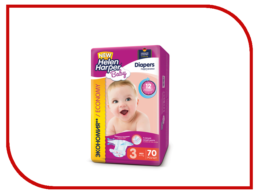 Подгузники Helen Harper Baby Midi 4-9кг 70шт 2310399 helen miller фата