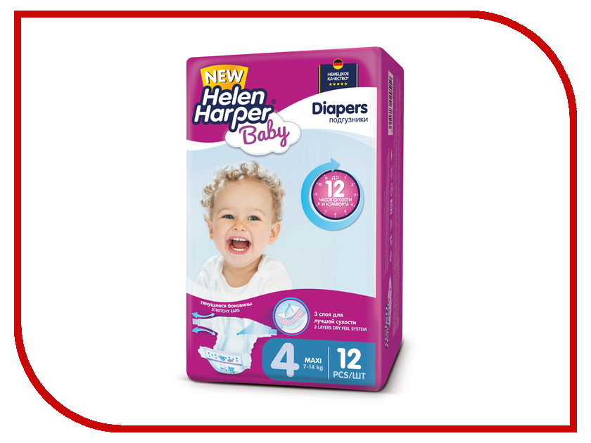 Подгузники Helen Harper Baby Maxi 7-14кг 12шт 2311075 подгузники helen harper soft & dry maxi 7 18кг 96шт 2311652