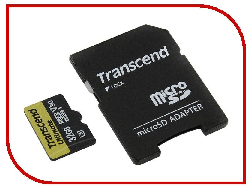 Карта памяти 32Gb - Transcend - Micro Secure Digital HC Class 10 UHS-I TS32GUSDU3M с переходником под SD transcend карта памяти 4gb secure digital card class 10 transcend ts4gsdhc10