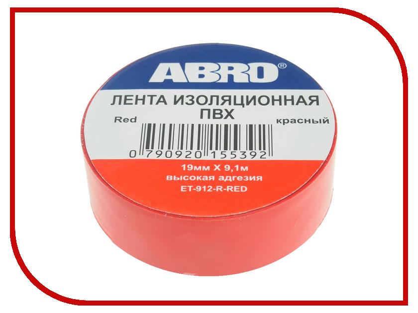 Изолента ABRO 19mm x 0.12mm x 9.1m Red ET-912-R-R сумка abro 027367 18 91
