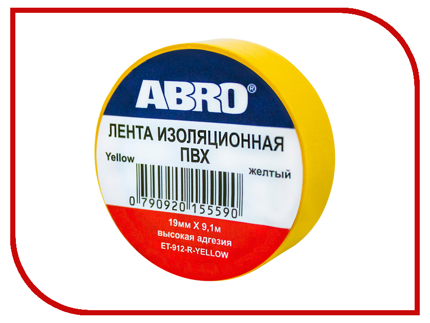 Изолента ABRO 19mm x 0.12mm x 9.1m Yellow ET-912-R-Y abro 026176 37 nude
