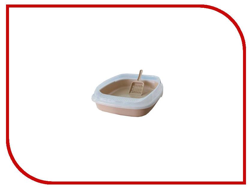 Туалет Макар с бортом без решетки средний 46x36x11cm МАК02 Beige какой лучше купить кошке туалет с решеткой или без решетки