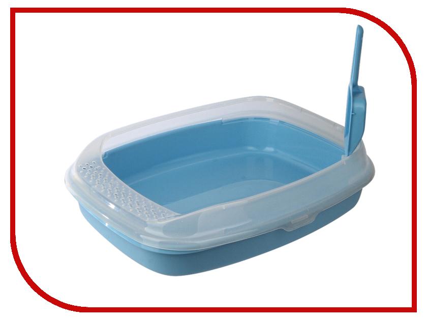 Туалет МАК с бортом без решетки средний 46x36x11cm МАК03 Light Blue какой лучше купить кошке туалет с решеткой или без решетки
