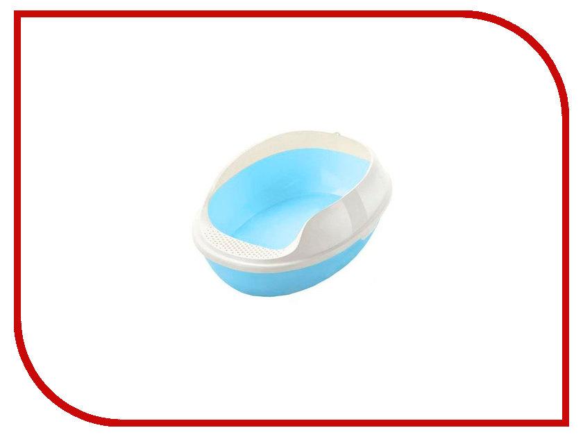Туалет МАК овальный с бортом без решетки 50x38x20cm МАК13 Light Blue какой лучше купить кошке туалет с решеткой или без решетки