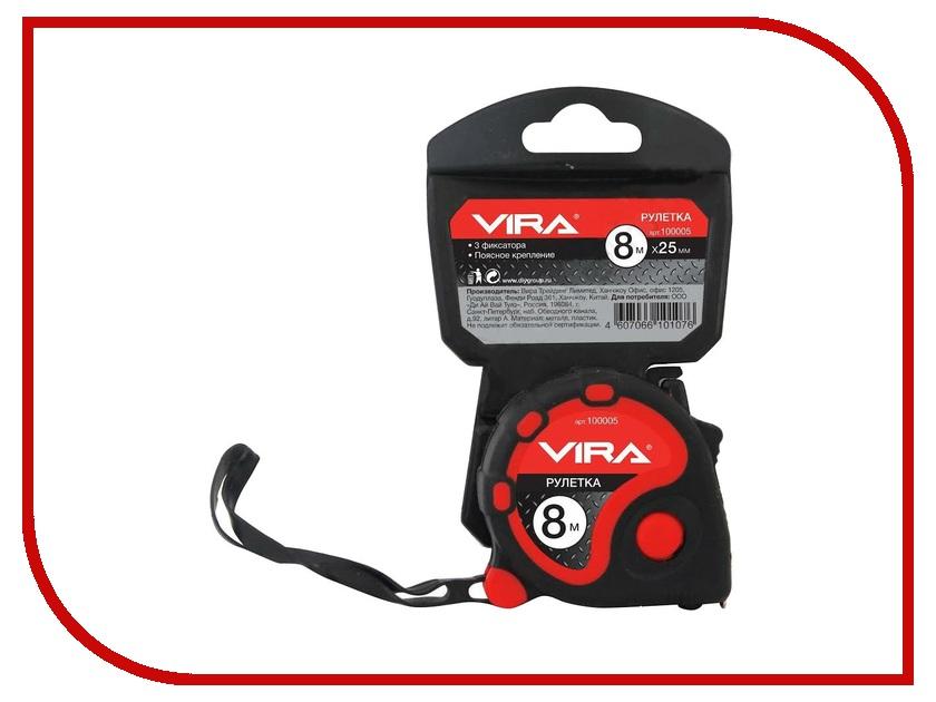Рулетка Vira 8m x 25m 100005  рулетка vira 8мx25мм с нейлоновым покрытием