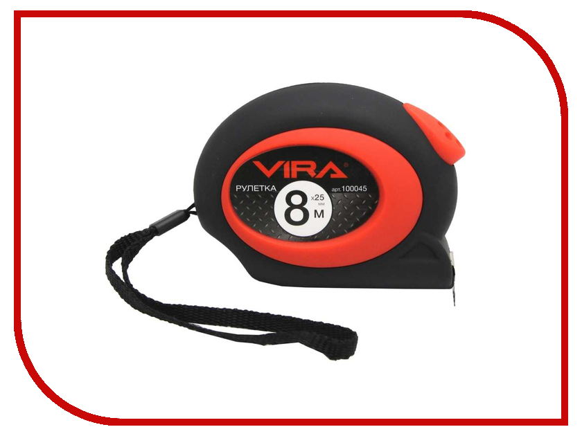 Рулетка Vira 8m x 25mm 100045  рулетка vira 8мx25мм с нейлоновым покрытием