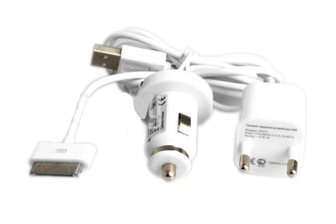 Аксессуар Deppa Ultra iPhone/iPod 1200 mAh White набор - сетевая зарядка, дата кабель, з.у. автомобильное 11100<br>