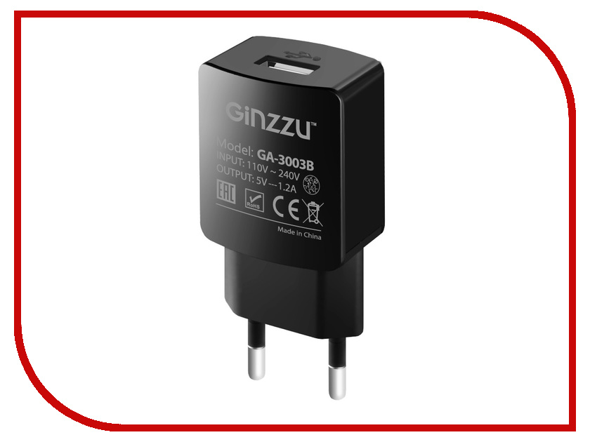 Зарядное устройство Ginzzu USB 1.2A Black GA-3003B