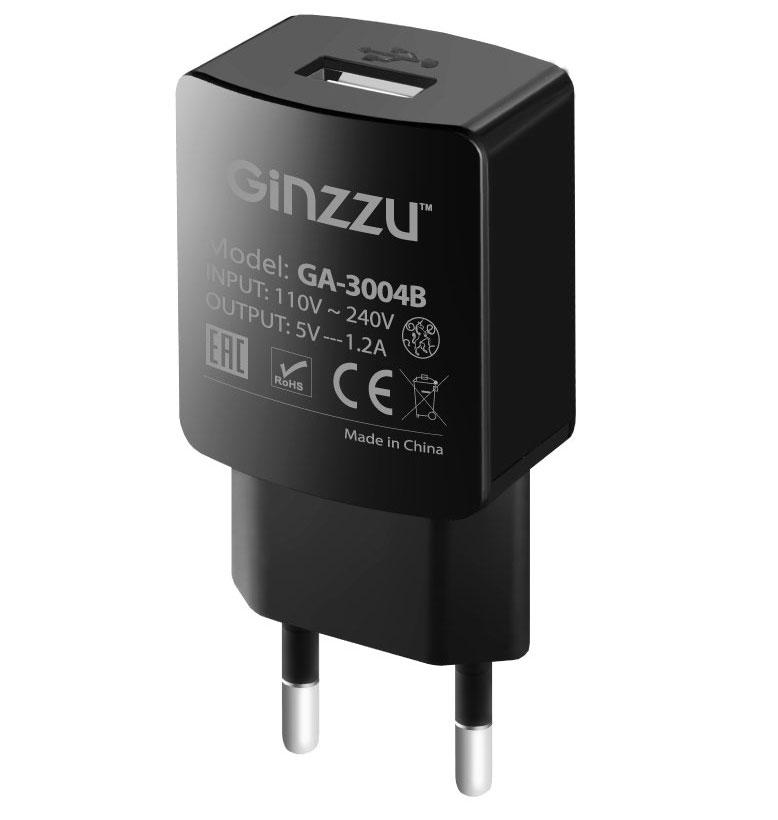 Зарядное устройство Ginzzu USB 1.2A Black GA-3004B зарядное устройство ginzzu 4xusb 6a ga 4430ub