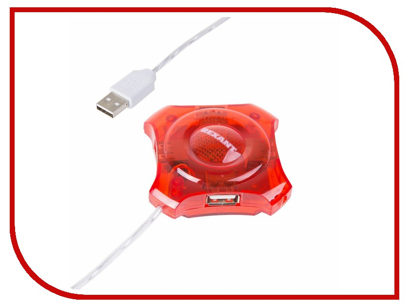 Хаб USB Rexant 18-4100 4 ports Red