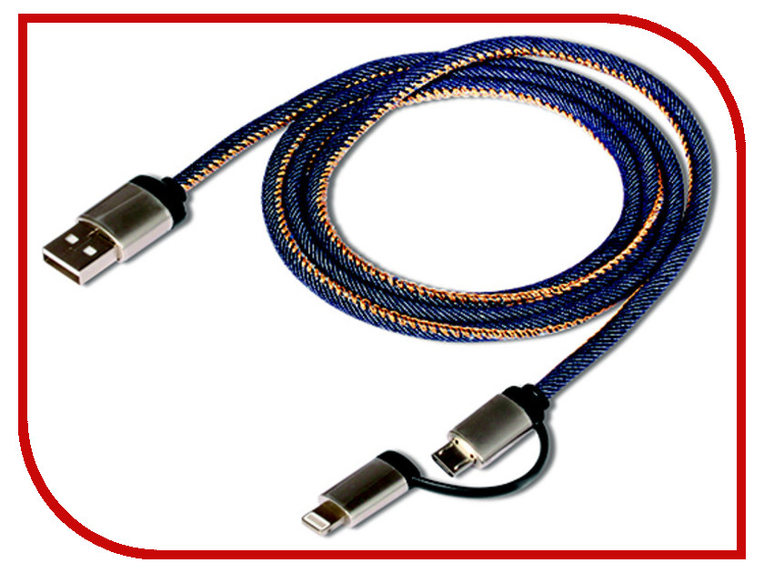Аксессуар DF 8pin-micro USB-USB uJeans-01 Dark Blue
