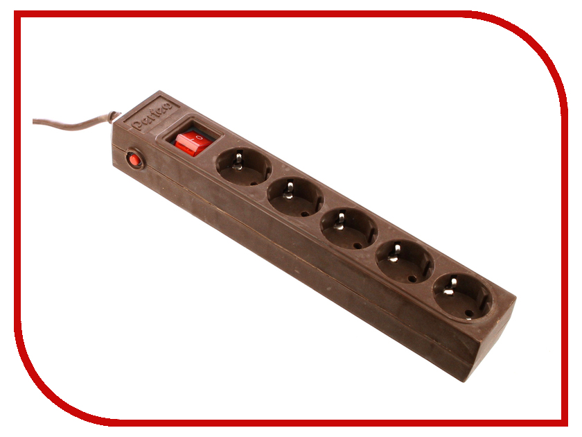 Сетевой фильтр Perfeo 5 Sockets 3m Brown PF-SP-5/3.0-BR