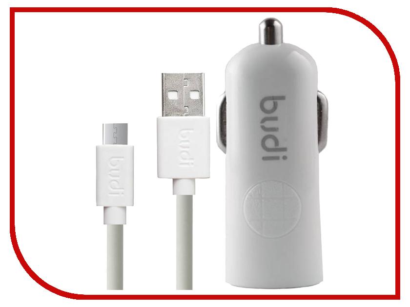 Зарядное устройство Budi M8J062M 2.4A + MicroUSB Cable White зарядное устройство budi m8j065 3 1a lightning cable white
