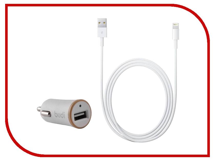 Зарядное устройство Budi M8J078 2.1A + Lightnig cable White-Gold