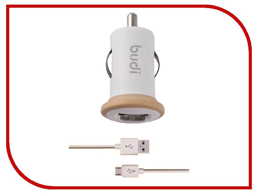Зарядное устройство Budi M8J090M 2.1A + MicroUSB cable White зарядное устройство budi m8j065 3 1a lightning cable white