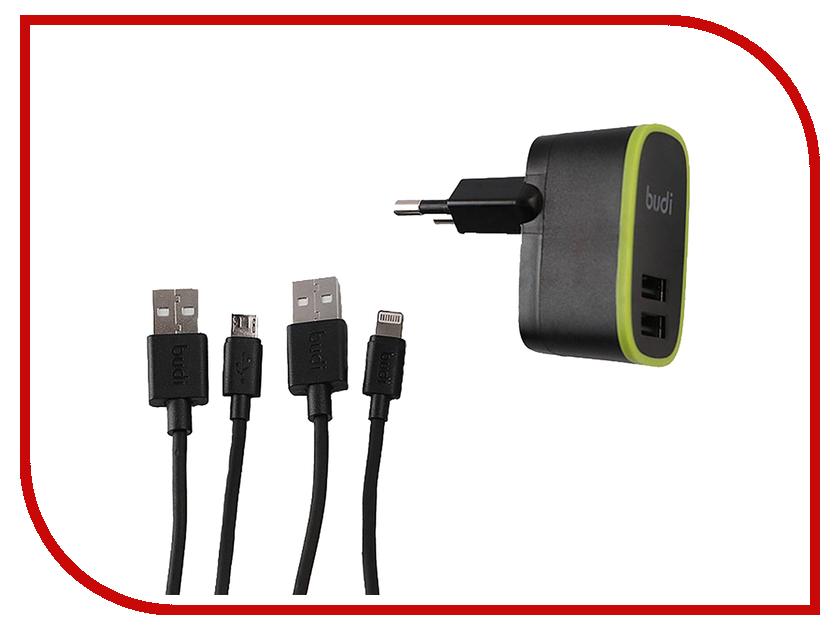 Зарядное устройство Budi M8J056E 2xUSB 2.4A + Lightning & MicroUSB cables Black 70584 зарядное устройство dotfes b03s 2xusb 4 8a lightning gold 03179