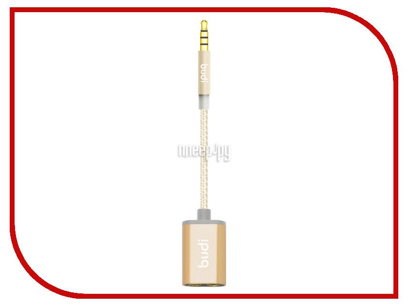 Аксессуар Budi 3.5 Jack M - 3.5 Jack F 25cm M8J021 Gold
