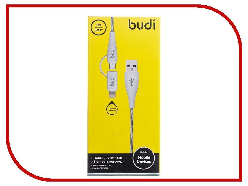 Аксессуар Budi USB - MicroUSB + Lightning M8J010 1m White зарядное устройство budi m8j065 3 1a lightning cable white