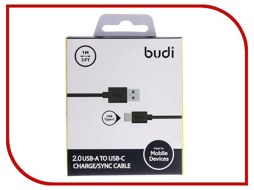 Аксессуар Budi USB - Type-C M8J166TC 1m Black