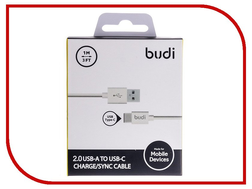 Аксессуар Budi USB - Type-C M8J166TC 1m White