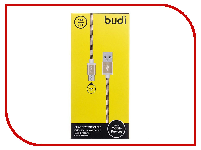 Аксессуар Budi USB - MicroUSB M8J172M 1m Gold<br>