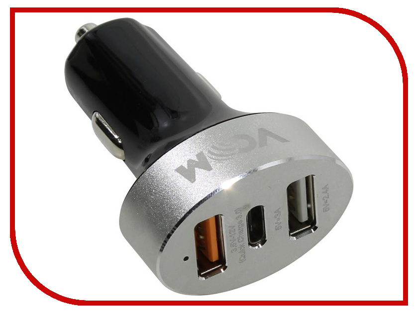 Зарядное устройство VCOM 2xUSB + Type-C CA-M080 ca dc528