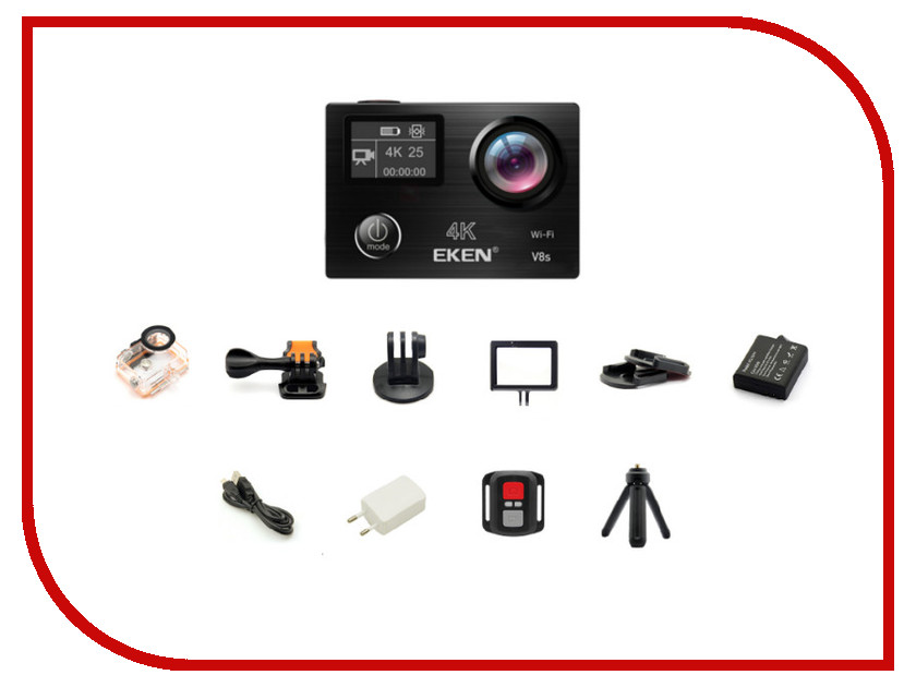 Экшн-камера EKEN V8S Black eken pano360 экшн камера