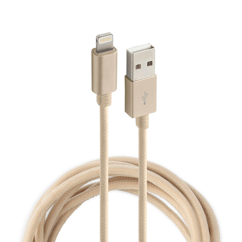 Аксессуар Rock USB to Lightning Metal Charge & Sync Round Cable 20cm RCB0432 Gold