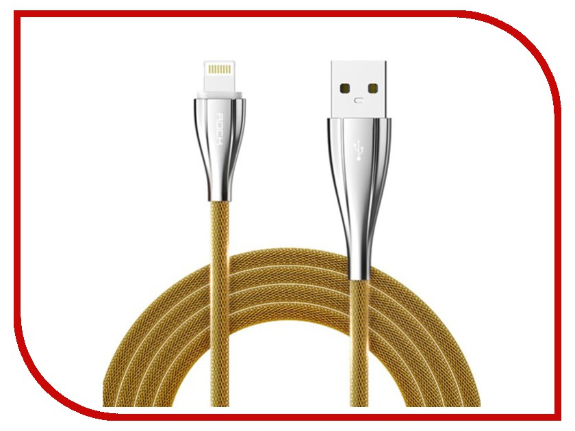 Аксессуар Rock USB to Lightning Metal Data Cable 1m Golden RCB0485