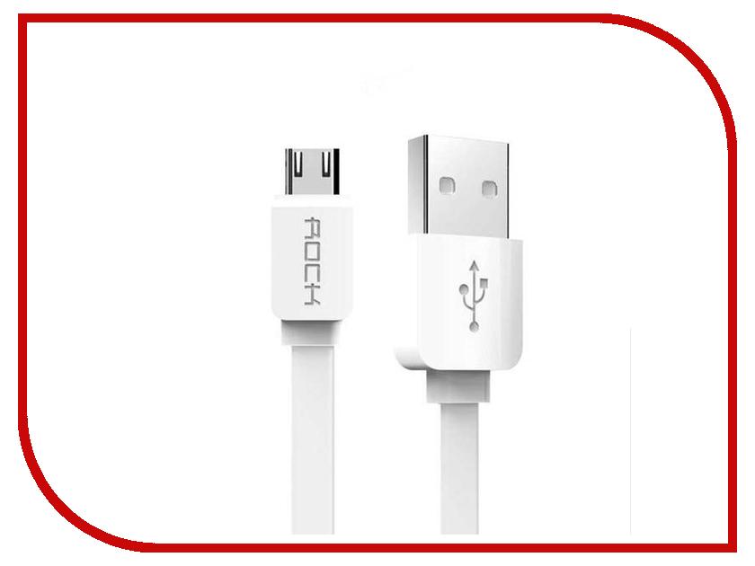 Аксессуар Rock Flat USB - MicroUSB 1m White аксессуар orico usb microusb 1m fdc 10 wh