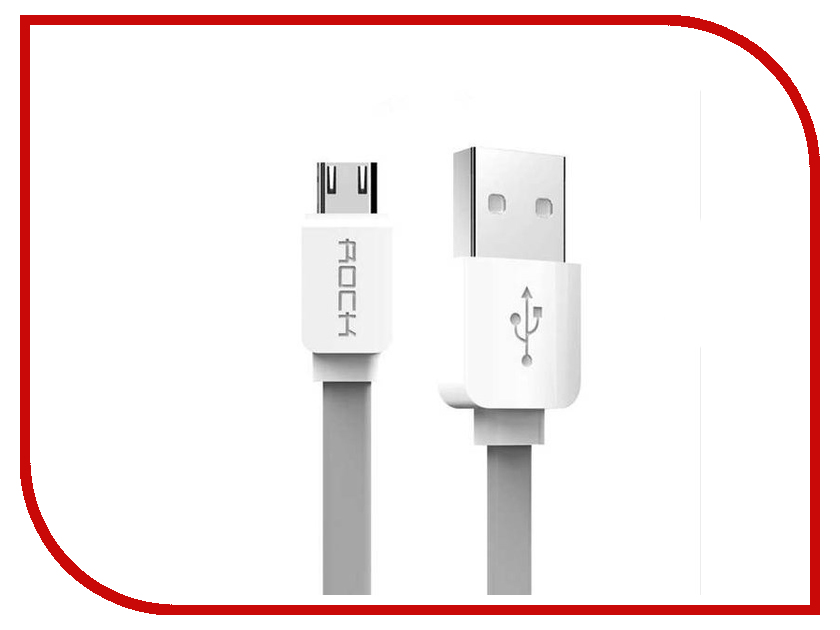 Аксессуар Rock Flat USB - MicroUSB 1m Grey аксессуар dotfes microusb a09m self rolling 0 8m grey 14769