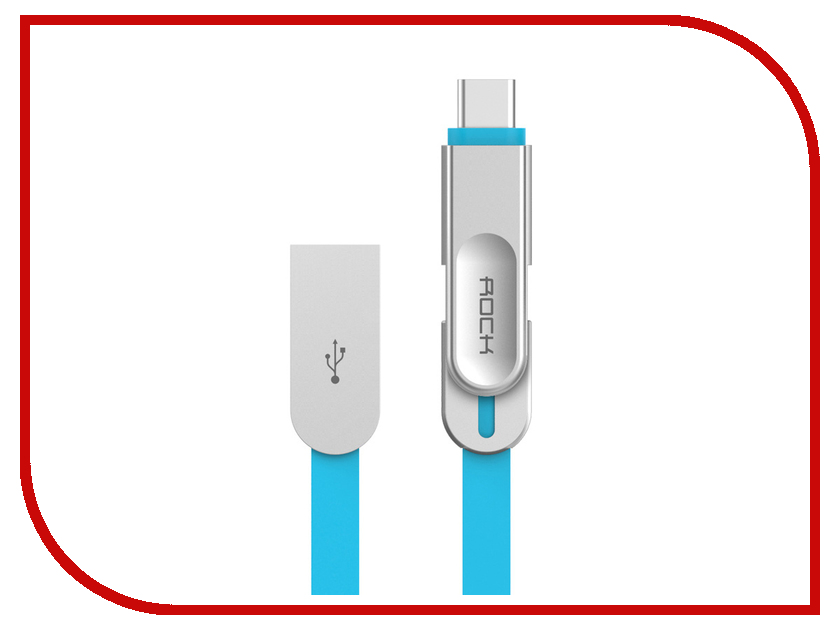 Аксессуар Rock USB to Lightning + MicroUSB + Type-C Metal Data Cable Blue аксессуар x flash microusb lightning 30p xf cubb109 45655