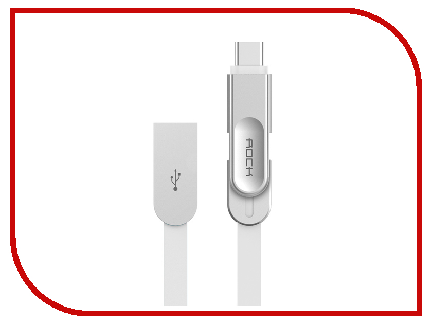 Аксессуар Rock USB to Lightning + MicroUSB + Type-C Metal Data Cable White аксессуар yoobao usb type c microusb lightning yb 453 gold