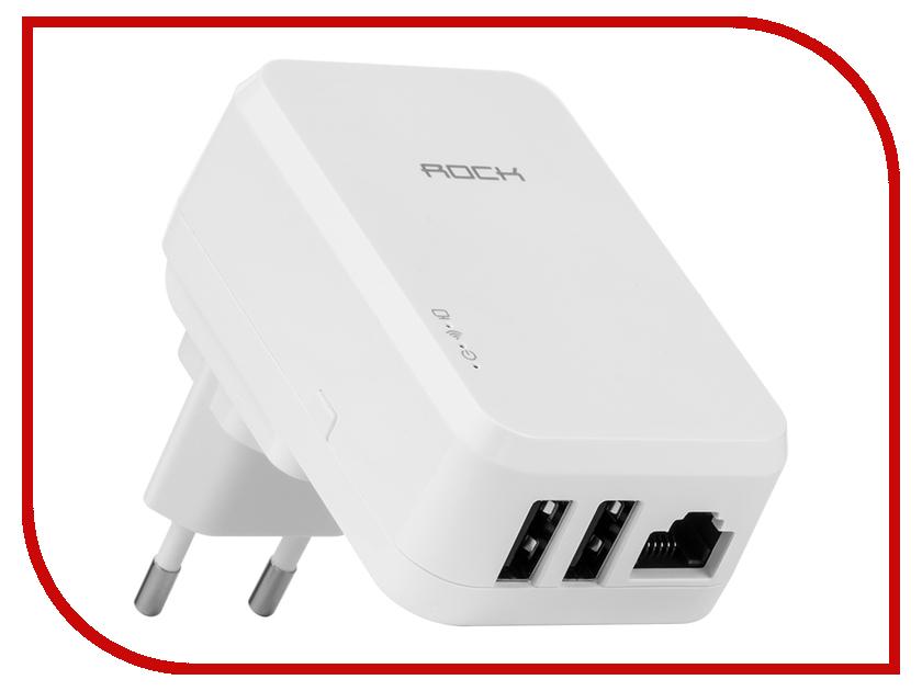 Зарядное устройство ROCK Tank Travel 2xUSB 3.4A + Wi-Fi ROT0711 White