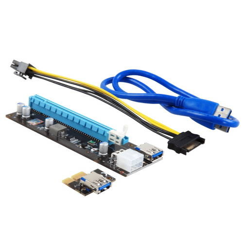 Аксессуар Адаптер Riser Card Mining GPU 200W+ PCI-E 1x to 16x USB 3.0 6pin майнинг