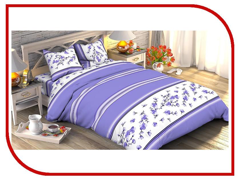 Постельное белье Этель Лавандовый мотив Комплект 1.5 спальный Поплин 1534761