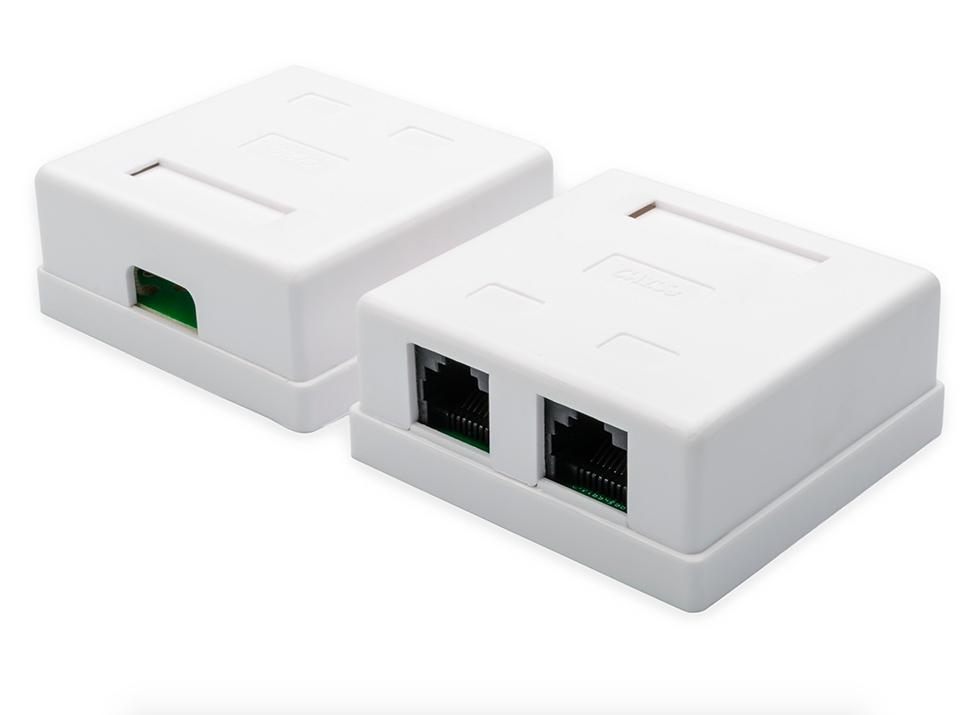 Розетка ATcom 2 порта накладная White АТ1012