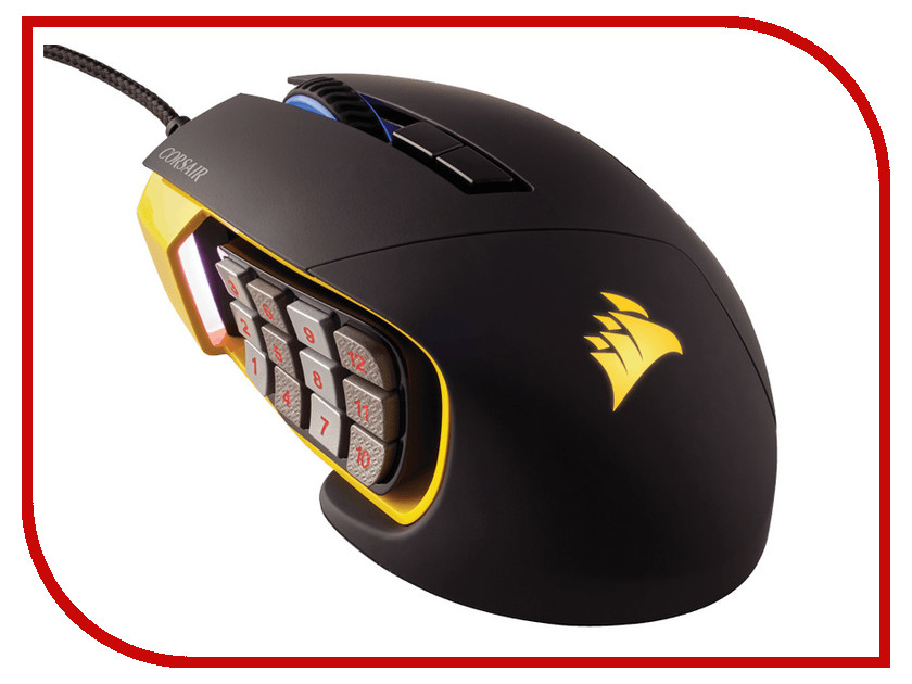Мышь Corsair Scimitar PRO RGB Yellow USB CH-9304011-EU мышь проводная corsair ch 9300011 eu