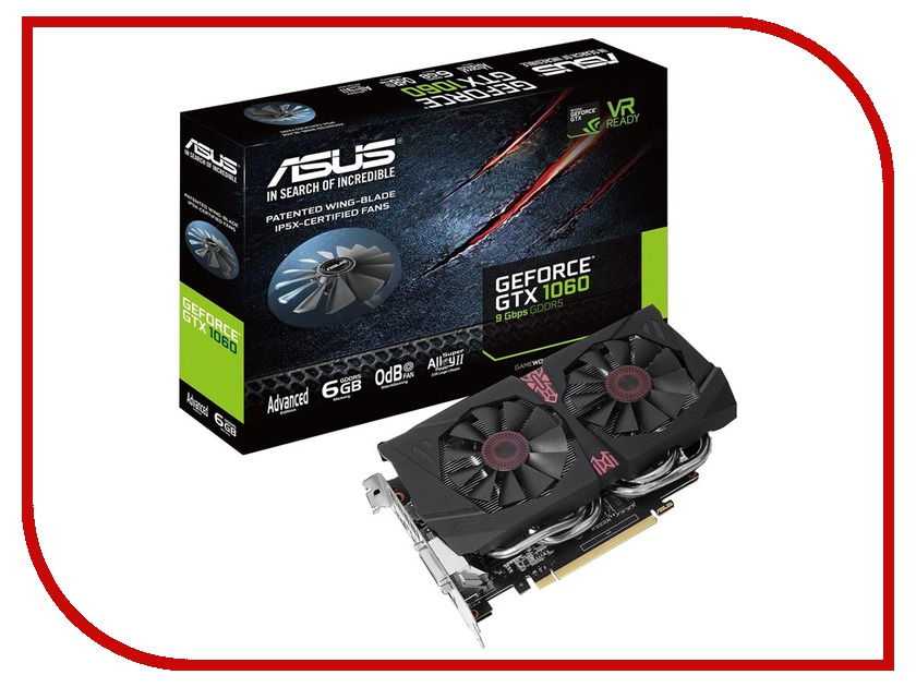 Видеокарта ASUS GeForce GTX 1060 1544Mhz PCI-E 3.0 6144Mb 9100Mhz 192 bit DVI HDMI HDCP GTX1060-A6G-9GBPS
