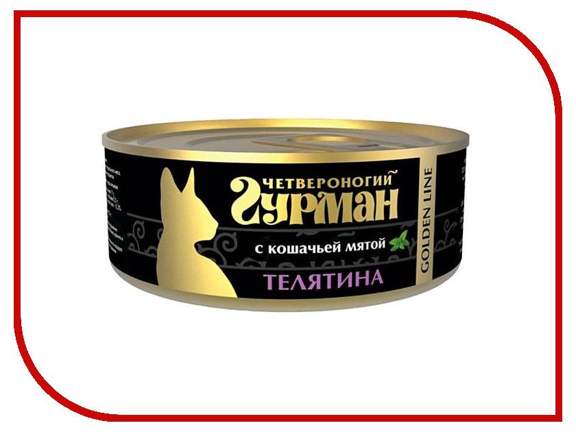 Корм Четвероногий Гурман Голден Телятина с мятой натуральная в желе 100g для