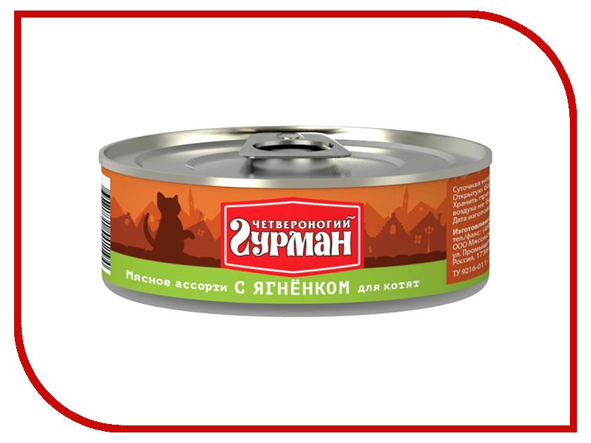 Корм Четвероногий Гурман Мясное ассорти с ягненком 100g для котят 18646 проплан для собак с ягненком