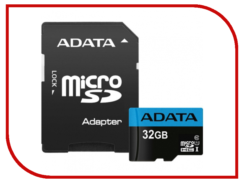 Карта памяти 32Gb - A-Data Premier - Micro Secure Digital HC Class 10 UHS-I AUSDH32GUICL10_85-RA1 с переходником под SD