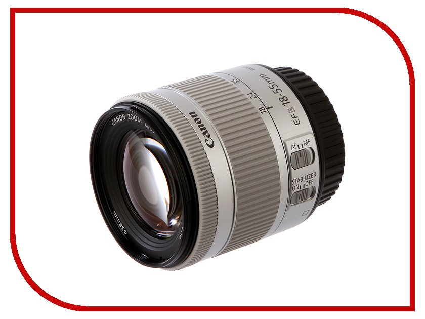 Объектив Canon EF-S 18-55 mm F/3.5-5.6 IS STM KIT Silver фотоаппарат зеркальный canon eos 200d ef s 18 55 is stm kit black