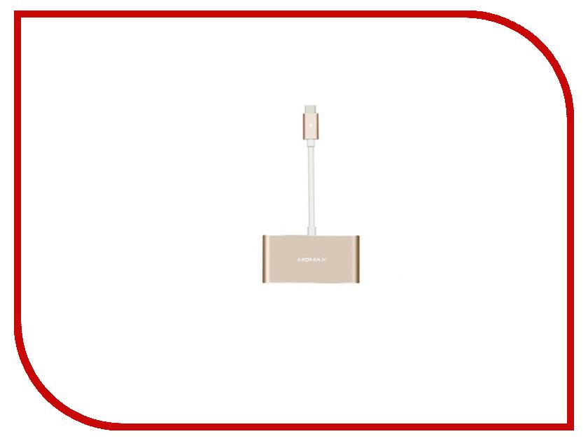 MOMAX USB to 3xUSB + Type-C DHC1 Gold<br>