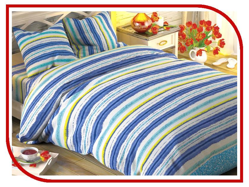 Постельное белье Этель Синие полоски Комплект 2 спальный Поплин 1504625 bello interni шкаф etel