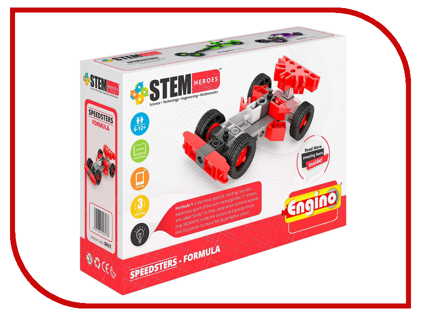 Конструктор Engino Stem Heroes Скоростные механизмы Формула SH31 детские скоростные велосипеды