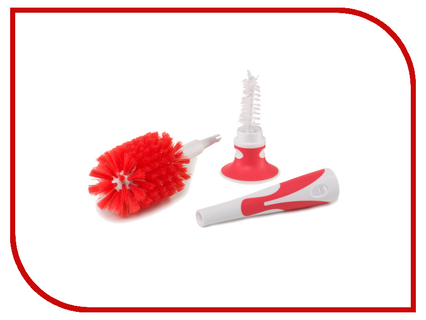 Ёршик для бутылочек Happy Baby Bottle And Pacifier Brush 2 in 1 Red 11009