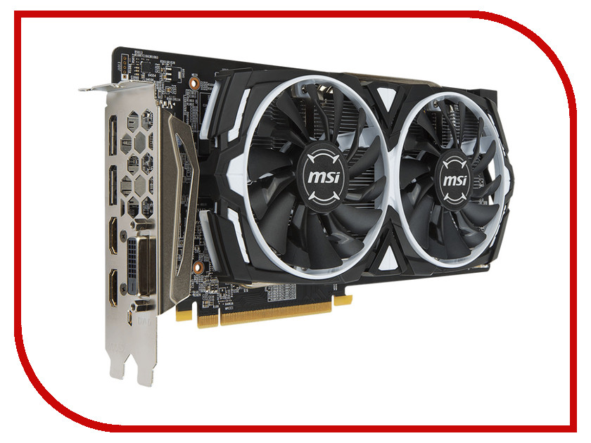 Видеокарта MSI Radeon RX 580 1340Mhz PCI-E 3.0 8192Mb 8000Mhz 256 bit DVI 2xHDMI HDCP RX 580 ARMOR 8G видеокарта 6144mb msi geforce gtx 1060 gaming x 6g pci e 192bit gddr5 dvi hdmi dp hdcp retail